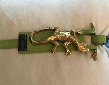 Anthony Alexander Accessories Belt Lizard Handmade Genuine Stone Green Snakeskin