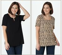 Susan Graver Print and Solid Set of 2 Liquid Knit Tops (Multi, XS) A379117