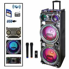"BEFREE SOUND DUAL 10"" BLUETOOTH PORTABLE DJ PA PARTY SPEAKER with LIGHTS MIC USB"