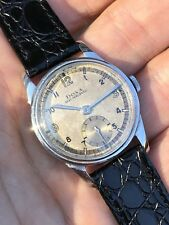 Lovely 1943 Vintage Doxa Midsize Mens Watch Swiss Made Two Tone Dial 30mm