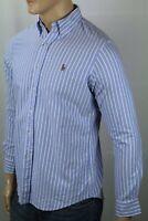 Ralph Lauren Blue White Stripe Classic Oxford Dress Shirt Multi Colored Pony NWT