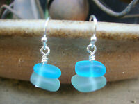 Light Aqua Blue and Caribbean Blue Sea Glass Silver Earrings Beach USA HANDMADE