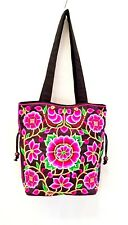 Pink Floral Hmong Bag Embroidered Tribe Handmade Unique Hobo Tote Shoulder Bags
