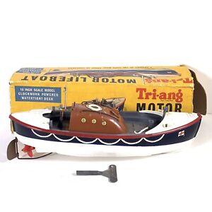 "Vintage Triang Motor Lifeboat 10"" Scale Model Clockwork 1950s RNLI Box Key"