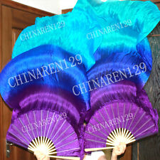 +carry bag PAIRS 1.5M BELLY DANCE SILK FANS purple sapphire blue turquoise