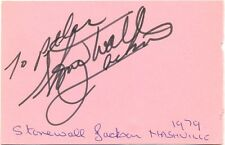 Stonewall Jackson + Jimmy Arthur Ordge signed autograph page 1979 country singer