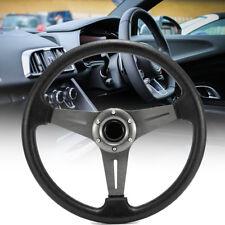 Black Boat Steering Wheel 3 Spoke Aluminium Alloy 342mm Sports Wheel Marine