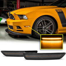 Smoked Lens Front Side Marker Lamps Amber Light for Ford Mustang 2010-2014