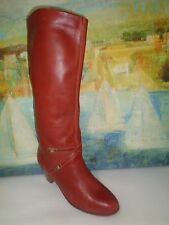 Women Brown Leather Knee High Boots 10