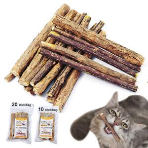 10/20pcs Natural Pet Snack Cat Chew Stick Cleaning Teeth Treat Toy Catnip