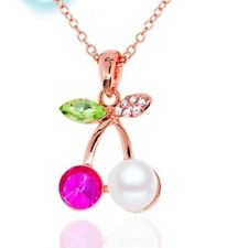 Pink Crystal Cherry Necklace Choker pearl Jewellery  Christmas Bridesmaid Gift A