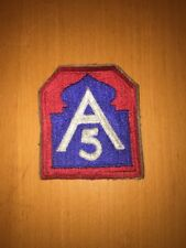 VINTAGE WW2 A5 FIFTH ARMY NORTH MILITARY SEW ON PATCH RED, WHITE & BLUE NICE