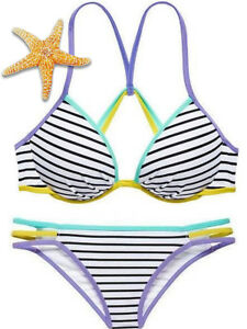 Victoria/'s Secret PINK Push-Up Metallic Blue Bikini Top Silver Strip Women Large