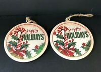Raz Imports Christmas Metal Disc Ornaments Happy Holidays Candy Canes Set of 2