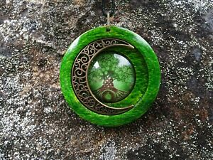 Celtic Tree of Life and Moon Pendant in green stained oak, Celtic jewellery