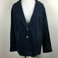 Charter Club Woman 2X Blazer Jacket Navy Blue Two Button Patch Pockets Ponte