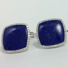 18K WHITE GOLD DIAMOND BLUE LAPIS CUFFLINKS TIE PIN