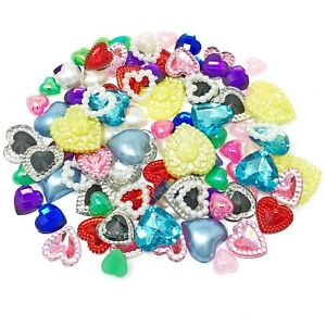 100 Mix Multicoloured Resin Heart Flatback Craft Cardmaking Embellishment