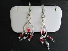 Silver Tone Tear Drop Loop Dangle Earrings With Red & Clear Bead Accents