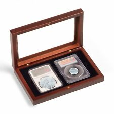 Certified Coin Slabs Presentation Wood Box Case For 2 Graded NGC PCGS Display