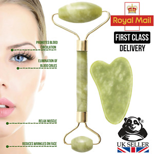 Jade Roller and Gua Sha Scraper Massager for Face Body Anti-Ageing Therapy Board