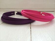 Pack of 6 Purple & Fuchsia Pink Satin Hairbands Headbands Alice Bands