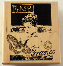 Stampington And Company Woman Collage Franco Fr No 8 Wood Rubber Stamp #K5511