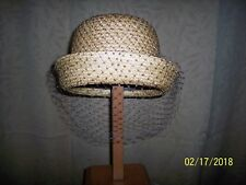 50S - 60'S VINTAGE MARSHALL FIELD & Co. GOLDEN STRAW HAT LEAMINGTON LABEL