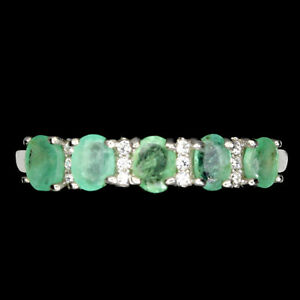 Unheated Oval Emerald 4x3mm Cz 14K White Gold Plate 925 Sterling Silver Ring 8