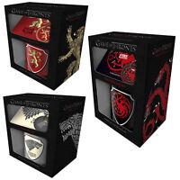 Game of Thrones Mug Coaster Keychain Pyramid Gift Set Stark Targaryen Lannister