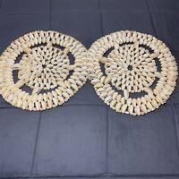 "Set Of 2 Vintage Handmade Sea Shell 8"" Trivet Hot Pad Doily Wall Art Pieces"