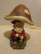 "Large gnome with mushroom sleeping 12"" tall"
