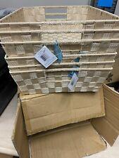 New Whitmor Lot of 6 Woven Strap Shelf Tote Latte Storage Durable Handwoven