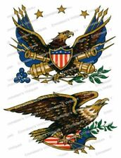 Vintage Image Retro Patriotic Early American Eagle Waterslide Decals MIS519