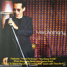 "MARC ANTHONY ""I NEED TO KNOW"" AUSTRALIAN PROMO POSTER - Latin Pop, Salsa Music"