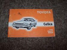 1983 Toyota Celica ST GT GT-S Supra L 2.4L Operator User Guide Owner Manual