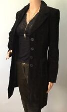 Womens Mandee Black Suede Genuine Leather Coat Knee Long Sleeve Trench Gothic S