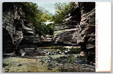 People in Deer Park Canyon near Starved Rock Oglesby, Illinois Postcard Unused