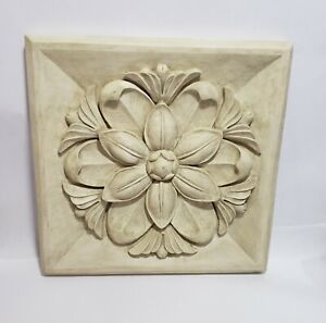 """HenFeathers Architectural Square Decorative Wall Plaque 14"""" Home Garden Decor"""