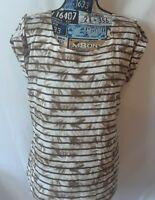 Liz Claiborne Womens Top Size XL Brown Tan Print Cap Sleeve with Roll Tab Cuff