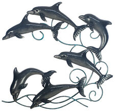 Dolphins Fish Pond Wave Metal Hanging Wall Art Sculpture School Of Dolphin 50 cm