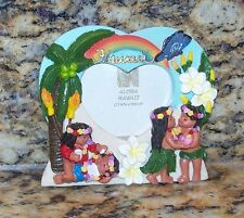 Aloha Hawaii Heart Shaped Picture Frame Fridge Magnet Boys Girls Kids Lei's Love