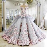 Gorgeous Flower Applique Quinceanera Dress Formal Prom Pageant Wedding Custom