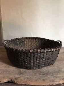 Early Antique Original Black Paint Handmade Gathering Basket Handles Patina AAFA