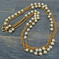 Vintage Chain Necklace #5588a Rise-on Chanel Gold Plated Cc Imitation Pearl