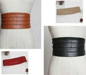 Women Runway Fashion Leather Elastic Cummerbunds Ladies Dress Coat Corsets Belts