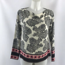 3d8bfea4bfc27 Etro Ivory Black And Pink Print Long Sleeve Blouse Size 38 2