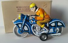 Vintage Tin Friction Toy Motorcycle with Driver,Motorkerekpar- Made in Hungary