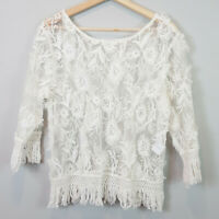 STEVIE MAY | Womens Boho embroidered tassels Top [ Size L or AU 14 / US 10 ]