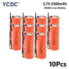 Rechargeable 18500 Li-ion Battery 3.7V 2500mAh Batteries Flat With Wires 10Pcs